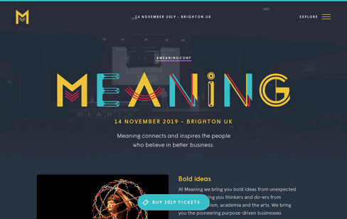 Meaning 2019, a conference for better 21st century business Web Design