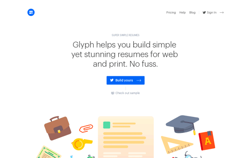Glyph: super simple resumes Web Design