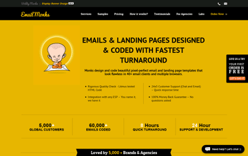 Email Monks: emails and landing pages Web Design