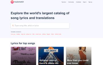 Musixmatch - Song Lyrics and Translations Web Design