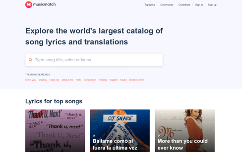 Musixmatch - Song Lyrics and Translations Web Design