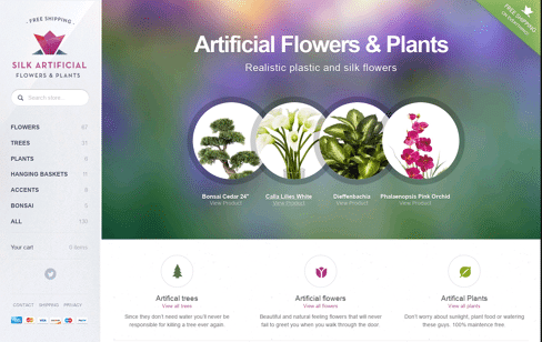 Artificial Flowers and Trees Web Design