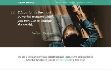 Leroux Music Studios | Calgary Guitar, Piano, Drum, Voice, Banjo, Ukulele, Mandolin, Violin, Fiddle & Trumpet Lessons Web Design
