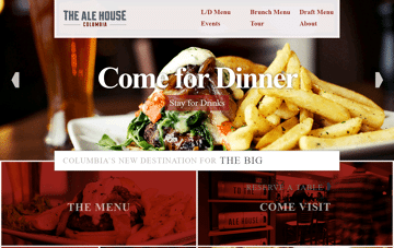 Columbia Bar, Restaurant, Nightlife | The Ale House Columbia Web Design