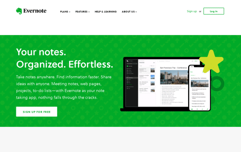 Evernote Note Taking App Web Design