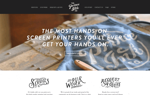 The Prince Ink Company Web Design