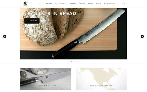 Shun Cutlery, knives Web Design
