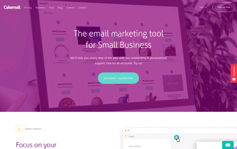 Cakemail Email marketing tool Web Design