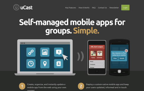 uCast | Create your own iPhone, Android and iPad App Web Design