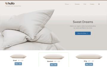 Hullo Pillow – Organic & All-natural buckwheat pillow. Web Design