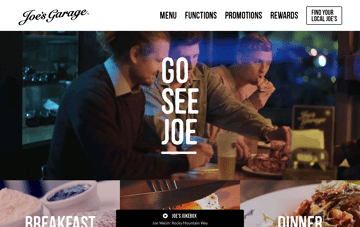 Joes Garage Restaurant, Cafe & Bar NZ Web Design