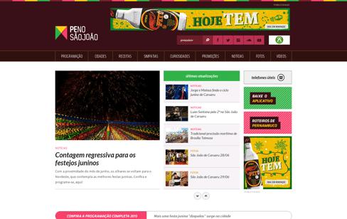 Notícias e Programação do São João de Pernambuco 2013 | PE no São João Web Design