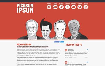 Picksum Ipsum - Movie Lorem Ipsum Text Generator Alternative Web Design