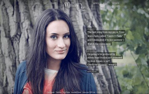 Millia Oz - Singer/Songwriter Web Design