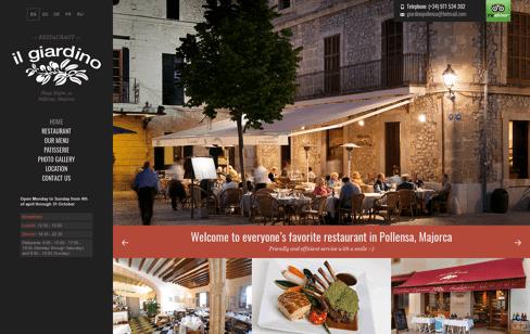 Restaurant Il Giardino Web Design