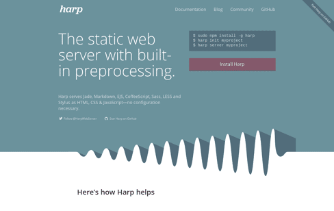Harp, the static web server with built-in preprocessing Web Design
