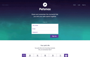 Petsmos - All the moments spent with your pet Web Design