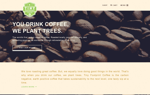 Tiny Footprint Coffee Web Design