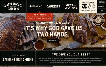 Jim 'N Nick's BBQ Restaurant  Web Design
