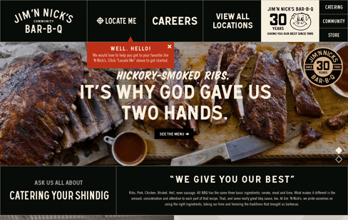 Jim 'N Nick's BBQ Restaurant  Web Design