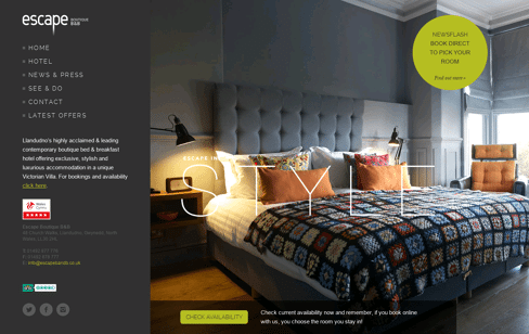 Escape Boutique Hotel and B&B  Web Design