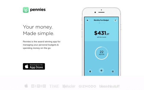 Pennies for iPhone Web Design