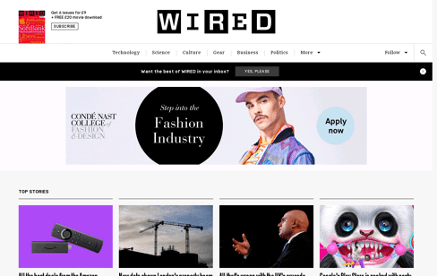 WIRED UK Web Design