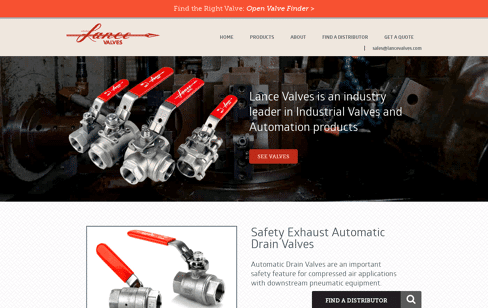 Lance Valves Web Design