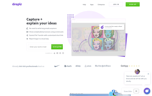 Droplr Screensho Web Design