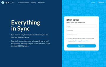 Sync Secure Cloud Storage Web Design