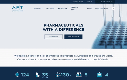AFT Pharmaceuticals Web Design