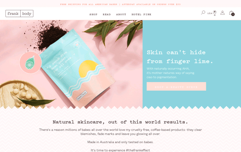 Frank Body Coffee Scrub Web Design