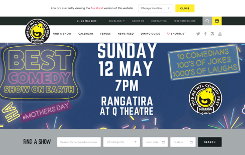 NZ International Comedy Festival Web Design