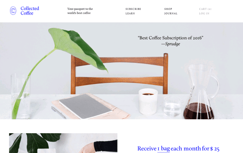 Collected Coffee Web Design