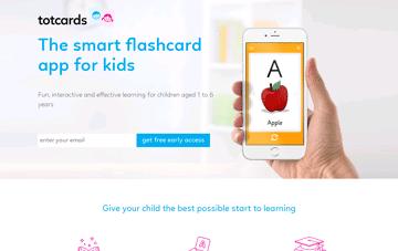 Totcards Flashcard app for kids Web Design