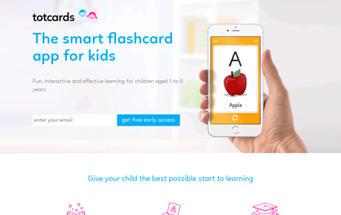 Totcards Flashcard app for kids Web Design