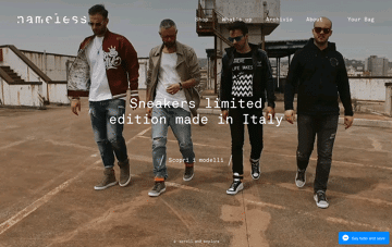 Nameless Sneakers Web Design