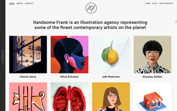 Handsome Frank Illustration Agency Web Design