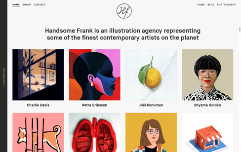 Handsome Frank Illustration Agency Web Design