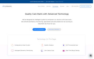 Forward - Preventive Healthcare, Powered by Technology Web Design