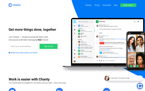Chanty AI-powered Team Chat Web Design