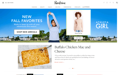 PureWow: Women's Fashion, Beauty, Life Hacks & Recipes Web Design