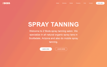 Z BODS Spray Tanning Web Design