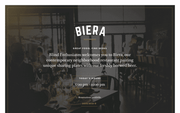 Biera Edmonton Restaurant Web Design