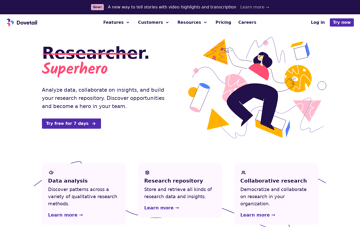 The Research Platform for Teams – Dovetail Web Design