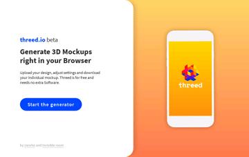 Threed.io 3D Device Mockups. Web Design
