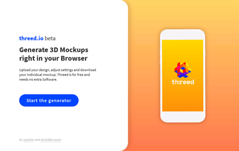 Threed.io 3D Device Mockups. Web Design