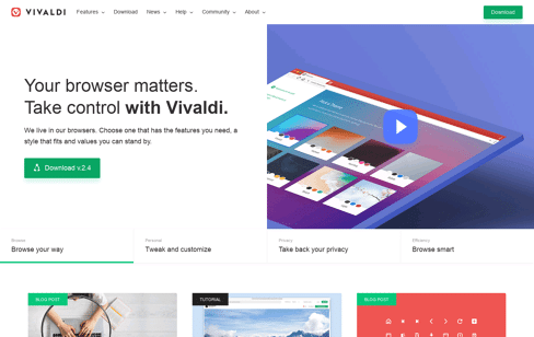 Vivaldi Browser Web Design