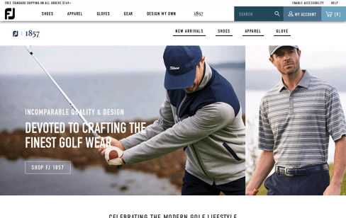FJ 1857 Golf Shop Web Design