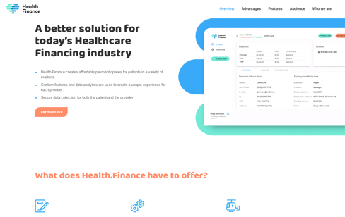 Health Finance Web Design